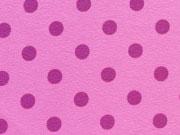 RESTSTÜCK 30 cm Baumwollstoff Punkte 0,7cm - pflaume auf rosa
