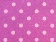 RESTSTÜCK 35 cm Jersey Punkte 0,7cm - rosa auf pflaume