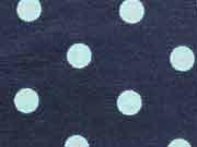 Jersey Punkte 0,8 cm - mint auf dunkelblau