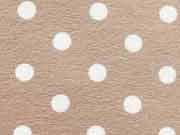 Jersey Punkte 0,8 cm - weiss auf beige