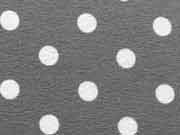 RESTSTÜCK 42 cm Jersey Punkte 0,8 cm - weiss auf dunkelgrau
