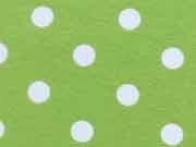 RESTSTÜCK 45 cm Jersey Punkte 0,8 cm - weiss auf hellgrün