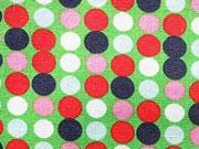 Punkte 0,7cm leuchtend grün mit rot, navy,rosa