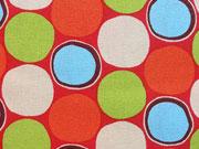 Baumwollstoff Kreise Punkte, hellblau hellgrün orange