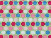 Baumwollstoff Punkte, rosa blau hellgrün