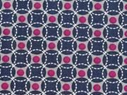 BW Punkte & Kreise, grau/dunkelblau