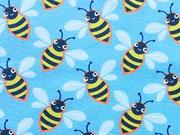 RESTSTÜCK 64 cm Jerseystoff Bienen Hamburger Liebe, gelb hellblau