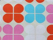 Canvas Stoff Blättermuster Robert Kaufman Geo Pop, orange türkis cremeweiß