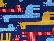 Baumwollstoff Giraffen Robert Kaufman,gelb rot dunkelblau