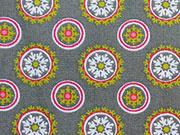 Baumwolle Rädchen/Blumen-grau/hellgrün