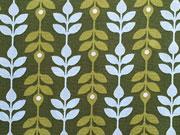 Baumwolle Ranken - hellblau/hellgrün auf grün