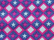 Baumwollstoff Sterne Quadrate, beere grau dunkelblau