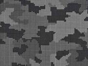 Softshell Stoff Camouflage reflektierend, silbergrau schwarz