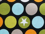 Baumwollstoff große bunte Punkte Riley Blake,gelb grün schwarz