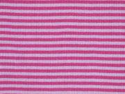 RESTSTÜCK 10 cm Ringelbündchen, Feinripp - rosa/pink