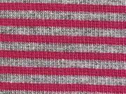 Ringelbündchen, Feinripp - pink/grau melange