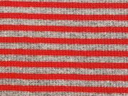 Ringelbündchen, Feinripp - rot/grau melange