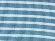 RESTSTÜCK 10 cm Ringelbündchen stahlblau-weiß