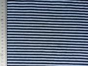 RESTSTÜCK 43 cm Jersey Streifen 4mm, hellblau dunkelblau