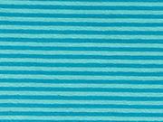 RESTSTÜCK 28 cm Jersey Streifen 3 mm, türkis helltürkis