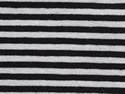 RESTSTÜCK 97 cm Ringeljersey Streifen 3 mm schwarz/weiß (garngefärbt)