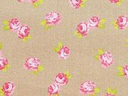 Baumwolle Bellisimi Fiori kleine Rosen, beige