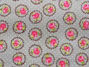 Baumwolle Rosen im Rankenkreis, pink beige