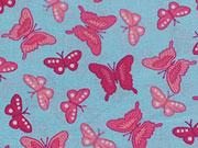 Baumwollstoff Schmetterlinge, rot auf hellblau