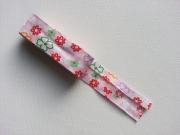 Schrägband Blümchen als 2m-Stück, rosa-bunt
