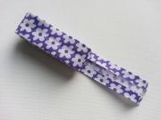 Schrägband Blumen als 2m-Stück, lila-weiss
