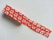 Schrägband Blumen als 2m-Stück, orange-weiss
