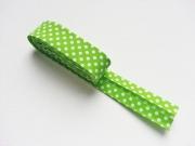 Gepunktetes Schrägband als 2m-Stück, weiß hellgrün