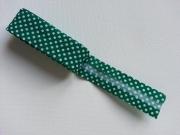 Gepunktetes Schrägband als 2m-Stück, dunkelgrün-weiß