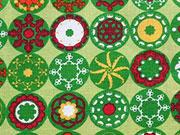 Baumwollstoff Kreise mit Blumen Mandalas -orange gelb auf grün