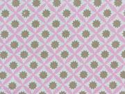 RESTSTÜCK 21 cm Baumwollstoff Sternchen & Rauten rosa  taupe
