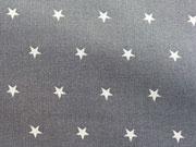 RESTSTÜCK 61 cm Baumwollstoff Sternchen 0,6cm - grau weiss