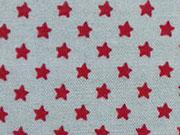Baumwollstoff rote Sternchen auf grau