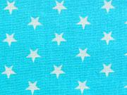 RESTSTÜCK 28 cm Baumwollstoff Sterne 1 cm groß-helles türkis