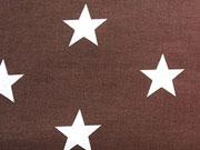 RESTSTÜCK 22 cm Baumwollstoff große weiße Sterne Big Star, dunkelbraun