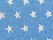Baumwollstoff Sterne 1 cm, weiß stahlblau