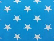 RESTSTÜCK 73 cm Jersey weisse Sterne 4,5 cm  Vincente, weiß türkis