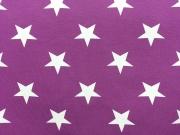 RESTSTÜCK 32 cm Jersey weisse Sterne 4,5 cm Vincente, lila