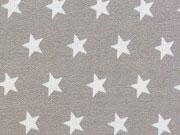 RESTSTÜCK 49 cm Baumwollstoff Sterne 1 cm, weiß taupe