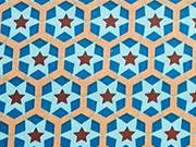 Baumwollstoff Sterne auf Sechseck, helltürkis auf beige