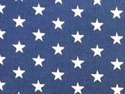 RESTSTÜCK 42 CM Baumwollstoff Sterne 1 cm, weiß auf dunkelblau