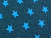 RESTSTÜCK 44 cm Jersey Sterne 1,4 cm  - türkis auf petrol