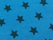 RESTSTÜCK 41 cm Jersey Sterne 1,4 cm  - petrol auf türkis