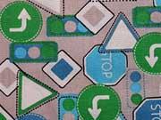 Popelin Straßenschilder - grau/grün