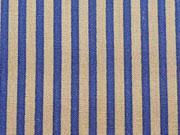 RESTSTÜCK 33 cm Baumwollstoff Streifen 0,3 cm breit,  beige königsblau