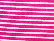 Ringelbündchen, Feinripp - pink/weiss